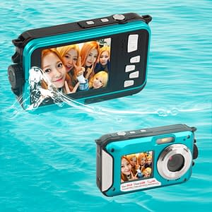 Waterproof HD Camcorder + 24 MP Digital Camera with Double Screen Refuse You Lose color: Blue Red