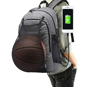 Basketball Ball Net USB Port Sports Backpack Refuse You Lose color: Black|Black with Net|Gray|Gray with Net