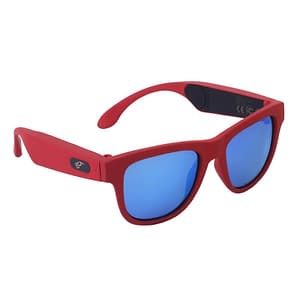 Bluetooth Sunglasses with Bone Conduction Technology color: Red frame Blue lens  Refuse You Lose