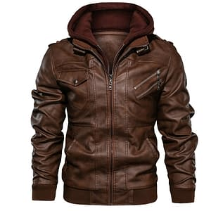 Men's Casual Leather Zipper Jacket Refuse You Lose color: BROWN Size: Small