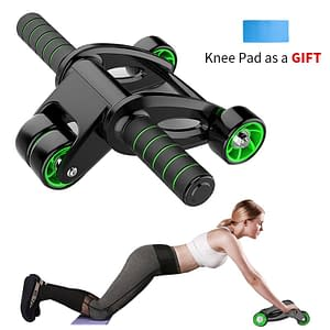 Four-Wheeled Roller for Abdominal Exercise Refuse You Lose color: Black