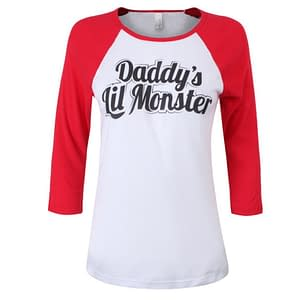 Daddy's Lil Monster Short Sleeve T-shirt Of Harley Quinn Refuse You Lose color: White/Red 1|White/Red 2|White/Red 3|White/Red 4