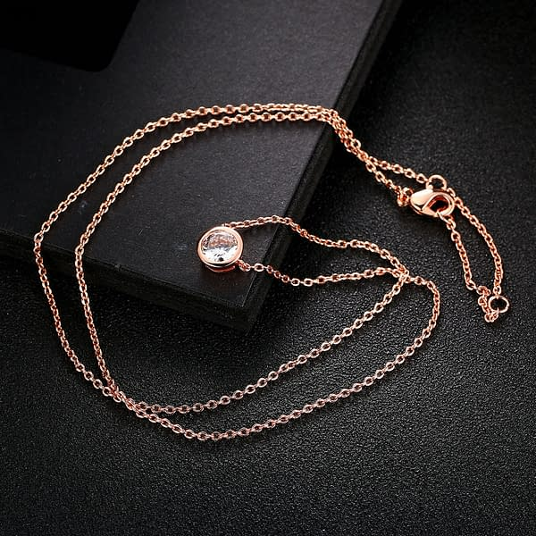 Rose Gold Necklace with Clear, Blue, Fuchsia, or Green Crystal Refuse You Lose metal-color: Blue Crystal|Clear Crystal|Fuchsia Crystal|Green Crystal