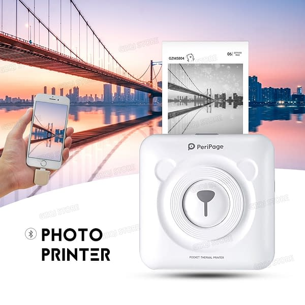Wireless Bluetooth Pocket Printer Refuse You Lose color: Pink|PK-ColorPaper-6Roll|PK-Sticker-6Roll|PK-WhitePaper-6Roll|WH-ColorPaper-6Roll|WH-Sticker-6Roll|WH-WhitePaper-6Roll|White