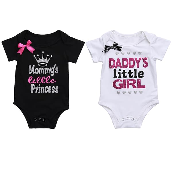 Baby Girl's Daddy's Little Girl Printed Summer Bodysuit Refuse You Lose color: Black White