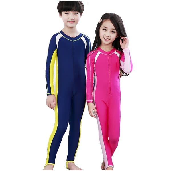 Kid's Waterproof UV Protective Swimsuits color: Pink Dark Blue  Refuse You Lose