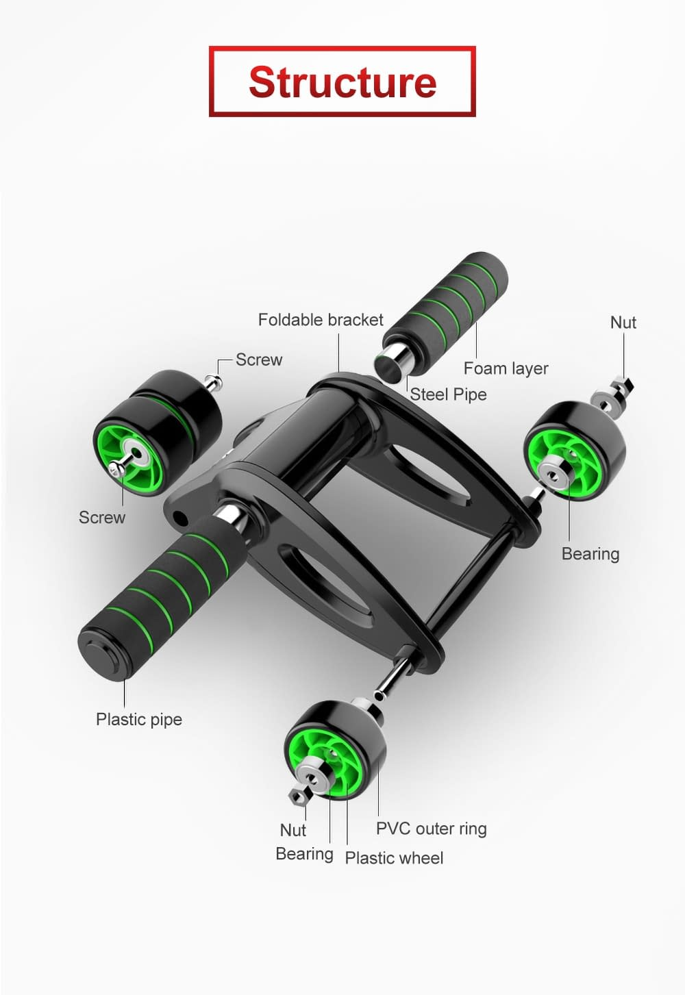 Four-Wheeled Roller for Abdominal Exercise