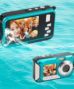 Waterproof HD Camcorder + 24 MP Digital Camera with Double Screen Best Gifts of 2020 Cameras color: Blue Red