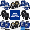 Tampa Bay Lightning Jersey For Men, Women, or Youth   Customizable color: Black Golden Reverse Retro Alternate Home Road  Refuse You Lose