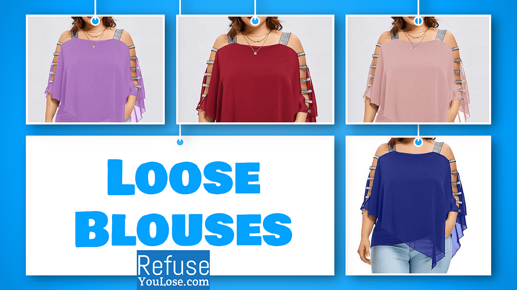 Beautiful Loose Blouse for Women color: Blue|Red|Pink|Purple  Refuse You Lose