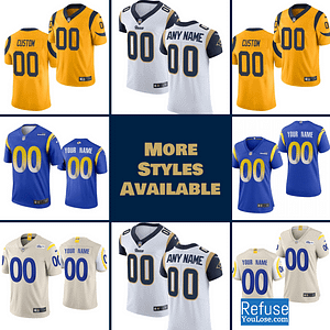 Los Angeles Rams Jersey For Women, Youth, or Men | Customizable color: 2020 Bone Gray|2020 Royal Blue|Gold|White|Camouflage|Navy|Navy Super Bowl|Pro Bowl|Royal Blue|Royal Blue Super Bowl|White Super Bowl  Refuse You Lose