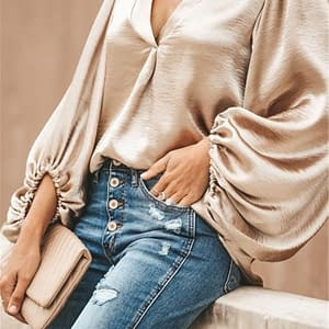 Echoine Women Blouses Office Lady Shirts Sexy V-Neck Low Cut Lantern Sleeve Loose Elegant Smooth Silk And Satins Tops Highstreet Limited Time Deals ⏳ Best Gifts of 2020 🎁 Best Gifts of 2020 For Women 🌹 Blouses color: Gray Khaki White  Refuse You Lose https://refuseyoulose.com