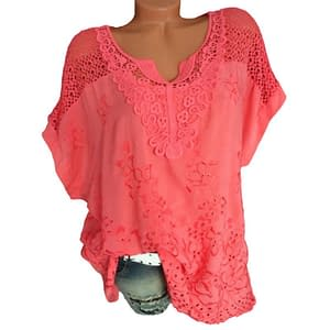 SHUJIN 5XL Plus Size Women Floral Lace Crochet Blouse Sexy Hollow Out Shirts Top Casual Summer Short Sleeve Blouses Camisa 2019 Refuse You Lose color: Black|Blue|Red|White|Army Green