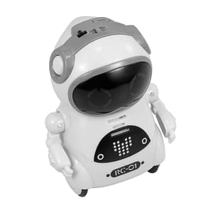939A Pocket RC Robot Talking Interactive Dialogue Voice Recognition Record Singing Dancing Telling Story Mini RC Robot Toys Gift Refuse You Lose color: Blue|Pink|White