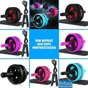 2 in 1 Fitness Essentials: Ab Roller & Jump Rope color: Black with Black|Blue with Black Rope|Pink with Black Rope|Pink with Pink Rope|Purple with Black|Purple with Purple|Black A|Black B|Blue|Pink|Purple  Refuse You Lose