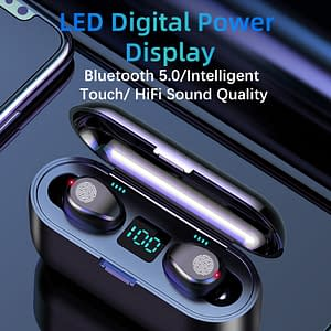 New F9 Wireless Headphones Bluetooth 5.0 Earphone TWS HIFI Mini In-ear Sports Running Headset Support iOS/Android Phones HD Call color: BLACK 5.0 2200mAn|Black5.0 1200mAn|White 5.0 2200mAn  Refuse You Lose