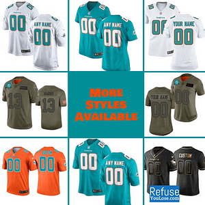 Miami Dolphins Football Jersey For Men, Women, or Youth | Customizable brand: Refuse You Lose  Refuse You Lose