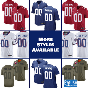New York Giants Jersey For Men, Women, or Youth | Customizable color: Black V-Neck|Alternate Red|City Edition|Pro Bowl|Salute to Service|Home|Road  Refuse You Lose