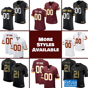 Washington Football Team Jersey For Men, Women, or Youth | Custom color: Black V-Neck|Salute to Service|Home|Road  Refuse You Lose