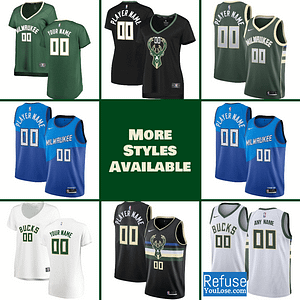 Milwaukee Bucks Jersey For Men, Women, or Youth | Customizable color: Alternate|City Edition|Home|Road  Refuse You Lose