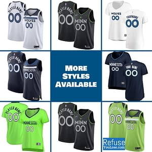 Minnesota Timberwolves Jersey For Men, Women, or Youth | Customizable color: Alternate Neon Green|City Edition|Home|Road  Refuse You Lose