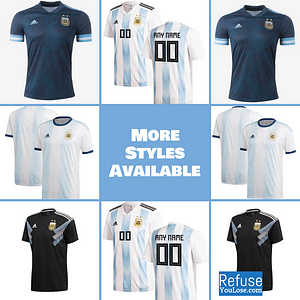 Argentina Soccer Jersey For Men, Women, or Youth | Customizable color: 2020-2021 Road|2019-2020 Home|2018-2019 Home|2018-2019 Road  Refuse You Lose