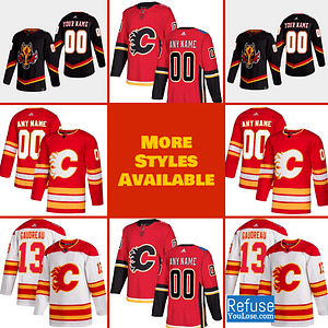 Calgary Flames Hockey Jersey For Men, Women, or Youth | Customizable brand: Refuse You Lose  Refuse You Lose