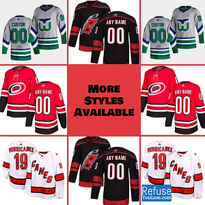 Carolina Hurricanes Jersey For Men, Women, or Youth | Customizable color: Black Golden|Reverse Retro|Alternate|Home|Road  Refuse You Lose