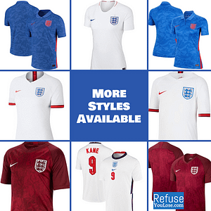 England Soccer Jersey For Men, Women, or Youth | Customizable color: 2020-2021 Home|2020-2021 Road|2019-2020 Home|2019-2020 Road|2018-2019 Home|2018-2019 Road  Refuse You Lose