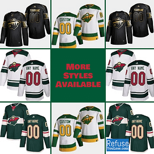 Minnesota Wild Hockey Jersey For Men, Women, or Youth | Customizable color: Black Golden|Reverse Retro|Home|Road  Refuse You Lose