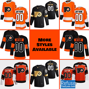 Philadelphia Flyers Jersey For Men, Women, or Youth | Customizable color: Black Golden|Reverse Retro|Alternate|Home|Road  Refuse You Lose