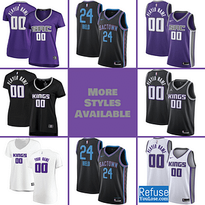 Sacramento Kings Jersey For Men, Women, or Youth | Customizable color: Alternate Black|City Edition|Home|Road  Refuse You Lose