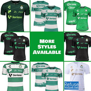 Santos Laguna Soccer Jersey for Men, Women, or Youth | Customizable color: 2020-2021 Home|2020-2021 Road|2020-2021 Third|2019-2020 Home|2019-2020 Road|2019-2020 Third  Refuse You Lose