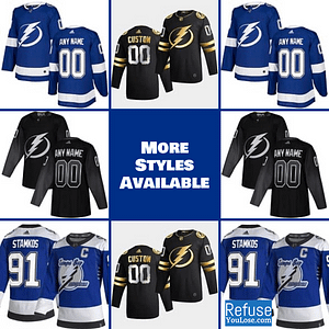Tampa Bay Lightning Jersey For Men, Women, or Youth | Customizable color: Black Golden|Reverse Retro|Alternate|Home|Road  Refuse You Lose