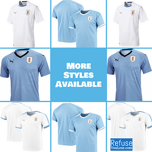 Uruguay Soccer Jersey For Men, Women, or Youth | Customizable color: 2019-2020 Home|2019-2020 Road|2018-2019 Home|2018-2019 Road  Refuse You Lose