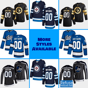 Winnipeg Jets Hockey Jersey For Men, Women, or Youth | Customizable color: Black Golden|Reverse Retro|Alternate|Home|Road  Refuse You Lose