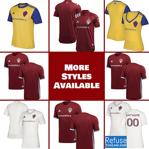 Colorado Rapids Soccer Jersey for Men, Women, or Youth | Customizable color: 2020 Home|2020 Road|2018 Home|2018 Road|2019 Road  Refuse You Lose
