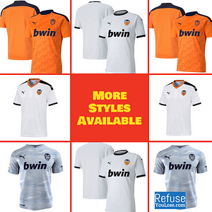 Valencia CF Soccer Jersey for Men, Women, or Youth | Customizable color: 2020-2021 Home|2020-2021 Road|2020-2021 Third|2019-2020 Home|2019-2020 Road|2019-2020 Third  Refuse You Lose