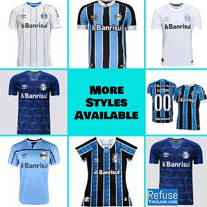 Grêmio Soccer Jersey for Men, Women, or Youth | Customizable color: 2020-2021 Home|2020-2021 Road|2020-2021 Third|2019-2020 Home|2019-2020 Road|2019-2020 Third  Refuse You Lose