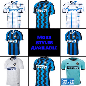 Inter Milan Soccer Jersey for Men, Women, or Youth | Customizable color: 2020-2021 Home|2020-2021 Road|2020-2021 Third|2019-2020 Home|2019-2020 Road|2018-2019 Home|2018-2019 Road  Refuse You Lose