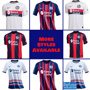 San Lorenzo Soccer Jersey for Men, Women, or Youth   Customizable color: 2020-2021 Home 2020-2021 Road 2019-2020 Home 2019-2020 Road  Refuse You Lose