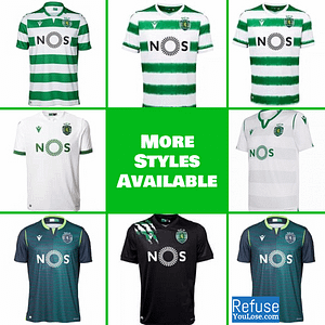Sporting Lisbon Soccer Jersey for Men, Women, or Youth   Customizable color: 2020-2021 Home 2020-2021 Road 2020-2021 Third 2019-2020 Home 2019-2020 Road 2019-2020 Third  Refuse You Lose