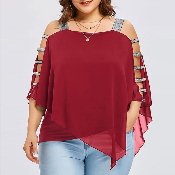 Plus Size Loose Blouse For Women Refuse You Lose color: Blue Red Pink Purple