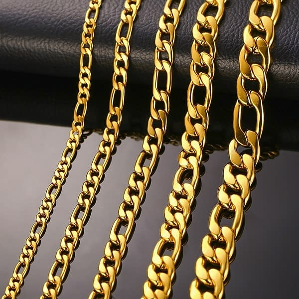 LETAPI New Fashion Stylish Figaro Link Chain Necklaces for Men Gold Color Stainless Steel Hip Hop Male Colar Jewelry width: 11 mm 13 mm 3 mm 4 mm 5 mm 7 mm 9 mm  Refuse You Lose