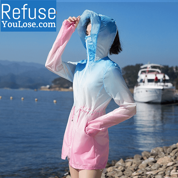 Lightweight Summer Coat with Face Cover For Women color: Blue pink|Orange pink|Pink Purple|Yellow green  Refuse You Lose