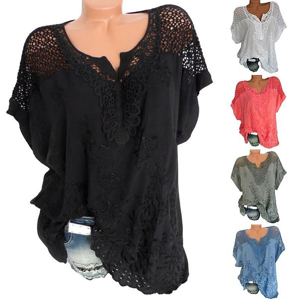 Lace Short Sleeve Loose Blouse color: Black|Blue|Red|White|Army Green  Refuse You Lose