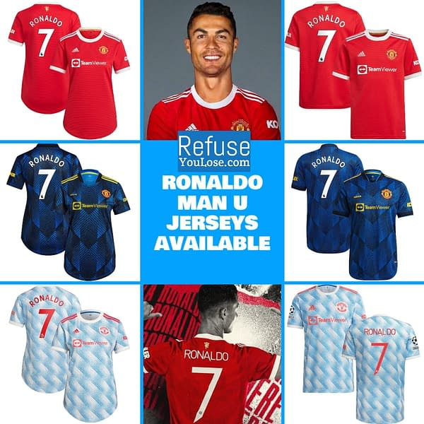 Cristiano Ronaldo Manchester United Soccer Jersey for Women, Youth, or Men color: 2021-2022 Manchester United Home|2021-2022 Manchester United Road|2021-2022 Manchester United Third  Refuse You Lose