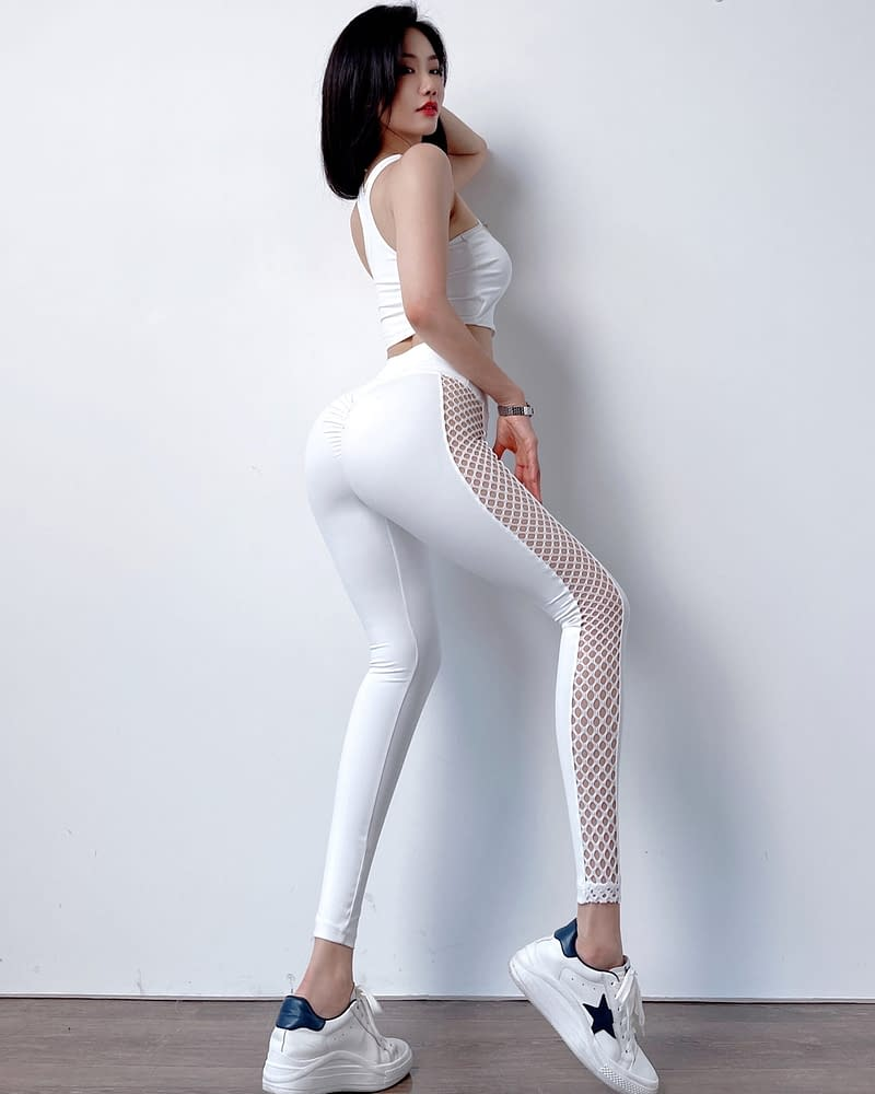 White Breathable Sexy Pull-Up Leggings
