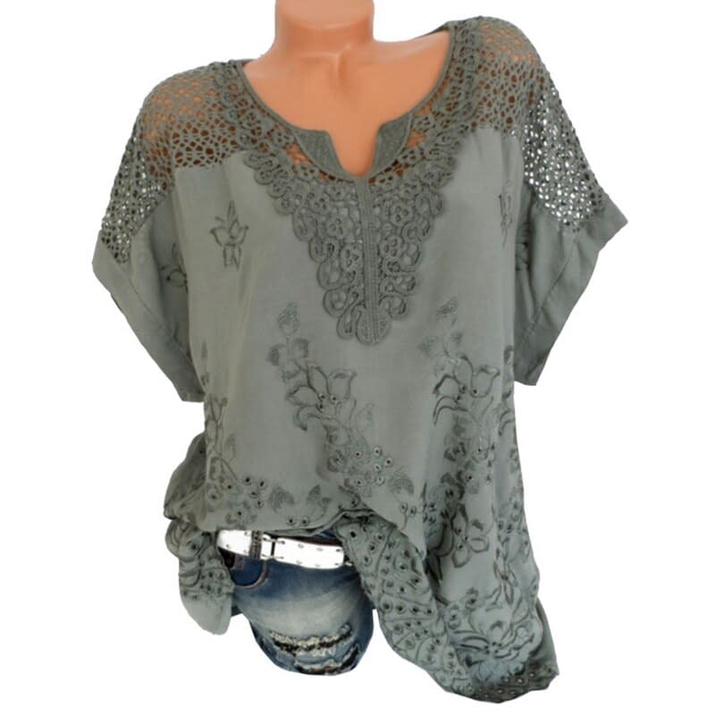 Lace Short Sleeve Loose Blouse