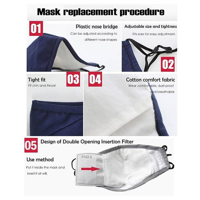 Washable Face Mask with Filter color: 1 Mask (No Filters)|Black with 2 Filters|Blue with 2 Filters|Gray with 2 Filters|Pink with 2 Filters|Purple with 2 Filters|Red with 2 Filters|10 Kid Filters|10 Filters  New Arrivals 2020 Fight Coronavirus Face Masks Best Sellers